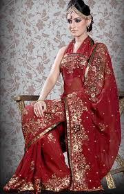 designer bridal saree red for wedding