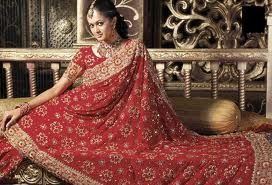 designer bridal saree in red color for wedding