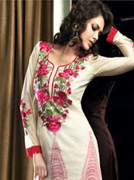 designer salwar suit in off white