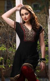 Indian cotton kurti in black color half sleeve