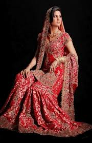 lehenga style saree in red color