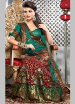 new designs of bridal lehenga choli green color