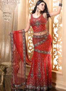 latest lehenga saree in red color